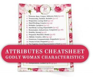 Proverbs 31 Woman Bible Study Toolkit - Attributes Cheatsheet