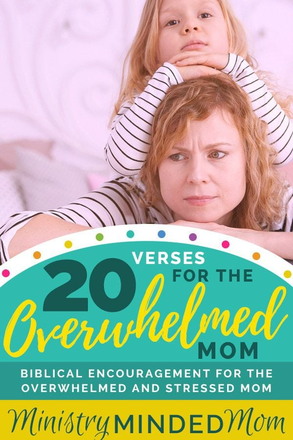 20 Verses to Encourage the Overwhelmed Mom  If you find yourself overwhelmed, stressed out, and exhausted as a mom, God's Word can help to lift you up and encourage you from right where you're at. Here are 20 verses that can bring you comfort and encouragement as an overwhelmed mom. #christianmom